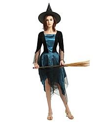 Недорогие -ведьма Жен. Взрослые Хэллоуин Хэллоуин Карнавал Маскарад Фестиваль / праздник Инвентарь Чернильный синий Однотонный Halloween