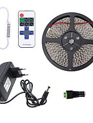 abordables -HKV 5m Bandes Lumineuses LED Flexibles 300 LED 3528 SMD 1 11Keys Télécommande / Adaptateur d'alimentation 1 x 2A Blanc Chaud / Blanc Froid / Rouge Imperméable / Découpable / Connectible 100-240 V