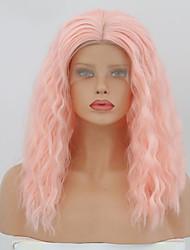 Недорогие -Синтетические кружевные передние парики Жен. Кудрявый Розовый Средняя часть Искусственные волосы 14 дюймовый Регулируется / Жаропрочная Розовый Парик Средняя длина Лента спереди Розовый / Да