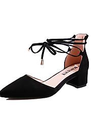 Недорогие -Жен. Strappy Stacked Heels Синтетика Лето Минимализм Обувь на каблуках На толстом каблуке Заостренный носок Черный / Красный / Светло-Розовый
