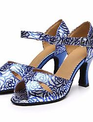 Недорогие -Жен. Обувь для латины Полиуретан На каблуках Тонкий высокий каблук Танцевальная обувь Синий / Выступление / Кожа / Тренировочные