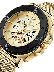 Недорогие -Муж. Спортивные часы Наручные часы Японский Кварцевый С гравировкой Повседневные часы Cool Нержавеющая сталь Группа Аналоговый Роскошь Мода Черный / Серебристый металл / Золотистый -