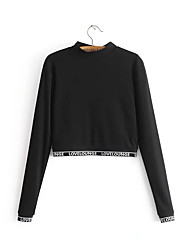 cheap -women's going out long sleeve slim sweatshirt - solid colored crew neck