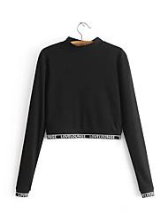 billige -kvinder går ud i langærmet slank sweatshirt - solid farvet besætningshals