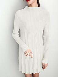 baratos -Mulheres Para Noite Delgado Bainha / Tricô Vestido Gola Redonda Cintura Alta Acima do Joelho