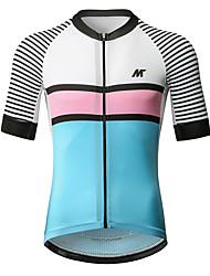 baratos -Mysenlan Homens Manga Curta Camisa para Ciclismo - Azul Branco Moto Camisa / Roupas Para Esporte Poliéster / Zíper YKK