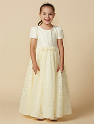 cheap -A-Line Ankle Length Flower Girl Dress - Lace Short Sleeve Jewel Neck with Lace / Sash / Ribbon by LAN TING BRIDE®