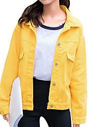 levne -Dámské Denní Standardní Bunda, Jednobarevné Košilový límec Dlouhý rukáv Bavlna / Podšívka / Akryl Rubínově červená / Světlá růžová / Žlutá Jedna velikost