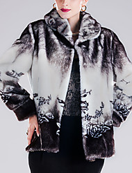 baratos -Mulheres Casaco de Pêlo Moda de Rua / Sofisticado - Floral Estampado