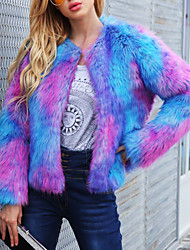 baratos -Mulheres Casaco de Pêlo Moda de Rua / Sofisticado - Estampa Colorida