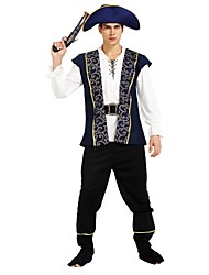 cheap -Pirates of the Caribbean Costume Men's Halloween / Carnival / Children's Day Festival / Holiday Halloween Costumes Ink Blue Solid Colored / Halloween Halloween