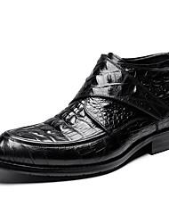 Недорогие -Муж. Кожаные ботинки Кожа Осень / Зима Английский Ботинки Ботинки Черный / Винный