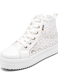 Недорогие -Жен. Полотно Осень Удобная обувь Кеды Микропоры Круглый носок Белый / Черный / Розовый