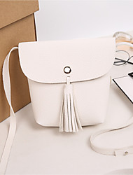 cheap -Women's Bags Faux Leather Mobile Phone Bag Tassel White / Black / Gray