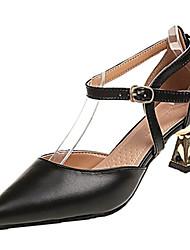 baratos -Mulheres Sapatos Couro Ecológico Verão Plataforma Básica Saltos Salto Carretel Dedo Apontado Preto / Amarelo / Amêndoa