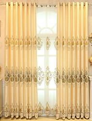 baratos -Cortinas cortinas Quarto Floral / Geométrica Poliéster Bordado