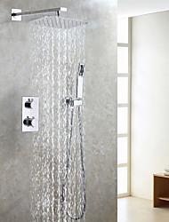 Недорогие -современный термостат смеситель для душа набор / воздушная капля водосберегающая ванна дождь душевая головка / ванная смеситель клапан / ручной душ входит / хром