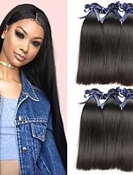 billige -6 Bundler Brasiliansk hår Lige Menneskehår Menneskehår, Bølget / Bundle Hair / Én Pack Solution 8-28 inch Menneskehår Vævninger Maskinproduceret Klassisk / Bedste kvalitet / Til sorte kvinder
