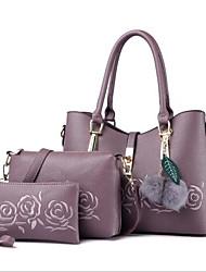 baratos -Mulheres Bolsas PU Conjuntos de saco 3 Pcs Purse Set Ziper Vermelho / Roxo / Roxo Claro