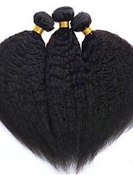 Недорогие -3 Связки Перуанские волосы Яки 8A Натуральные волосы Человека ткет Волосы Удлинитель Пучок волос 8-28 дюймовый Естественный цвет Ткет человеческих волос Машинное плетение Sexy Lady