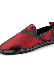 Недорогие -Муж. Комфортная обувь Полиуретан Осень На каждый день Мокасины и Свитер Контрастных цветов Черный / Красный
