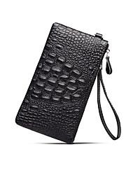 baratos -sacos de homens zíper de embreagem de couro napa / preto sólido