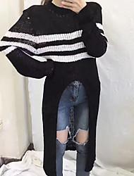 Недорогие -Жен. Классический Пуловер - Однотонный / Полоски, Пэчворк / С принтом