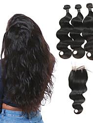 baratos -3 pacotes com fechamento Cabelo Brasileiro Onda de Corpo Cabelo Humano Extensões de Cabelo Natural / Trama do cabelo com Encerramento 8-26 polegada Tramas de cabelo humano 4x4 Encerramento Melhor