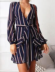 abordables -Femme Vacances / Sortie Sexy Mini Robe - Imprimé / enveloppe, Rayé V Profond Eté Bleu M L XL Coton Manches Longues