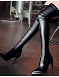 Недорогие -Жен. Наппа Leather Зима Удобная обувь / Модная обувь Ботинки На шпильке Бедро высокие сапоги Черный