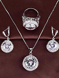 cheap -Women's Cubic Zirconia Solitaire / Foxtail chain Jewelry Set - Resin Flower Stylish, Classic, Elegant Include Drop Earrings / Pendant Necklace / Ring Red / Green / Pink For Party / Festival