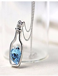 cheap -Women's Crystal Hollow Out / Beads Pendant Necklace / Charm Necklace - Bottle Romantic, Sweet, Fashion White, Blue, Pink 40 cm Necklace 1pc For Holiday, Going out