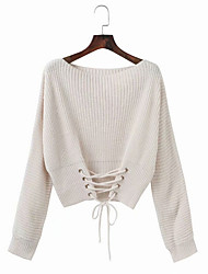 billige -Dame langærmet pullover - solid farvet rund hals