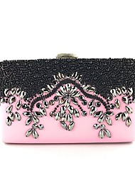 cheap -Women's Bags Polyester Evening Bag Beading / Crystals Floral Print Blushing Pink / Light Gold / Red black