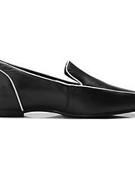 abordables -Femme Chaussures de confort Cuir Nappa Automne Mocassins et Chaussons+D6148 Talon Plat Bout fermé Blanc / Noir