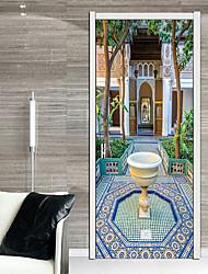 abordables -Autocollants de porte - Autocollants muraux 3D Abstrait / Religieux Salle de séjour / Chambre à coucher
