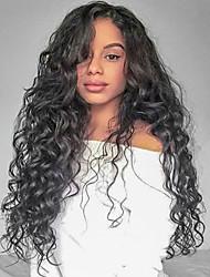 billige -Jomfruhår Blonde Front Paryk Brasiliansk hår Krøllet Paryk Frisure i lag 130% Natural Hairline / Til sorte kvinder Sort Dame Lang Blondeparykker af menneskehår