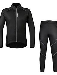 billiga Sport och friluftsliv-WOSAWE Långärmad Cykeltröja och tights - Svart Cykel Klädesset, Vindtät, Vattentät, Håller värmen, Fleecefoder Polyester Ensfärgat / Elastisk