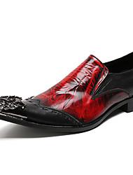 Недорогие -Муж. Официальная обувь Наппа Leather Осень Английский Туфли на шнуровке Доказательство износа Винный / Для вечеринки / ужина