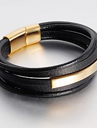 cheap -Men's Stylish / Braided Wrap Bracelet / Loom Bracelet / Handmade Link Bracelet - 18K Gold Plated, Titanium Steel Creative Statement, Unique Design, Punk Bracelet Gold / White / Black For Daily