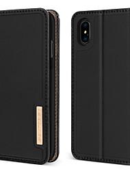 Недорогие -BENTOBEN Кейс для Назначение Apple iPhone XR / iPhone XS Max Защита от удара / со стендом / Флип Чехол Однотонный Твердый Настоящая кожа / ПК для iPhone XR / iPhone XS Max