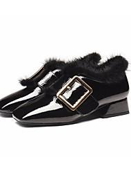 abordables -Femme Chaussures de confort Cuir Verni Automne Mocassins et Chaussons+D6148 Talon Bottier Noir / Marron