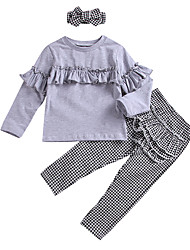 cheap -Kids Girls' Black & White Check Long Sleeve Clothing Set