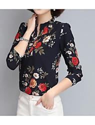 Недорогие -Жен. Блуза Воротник-стойка Цветочный принт