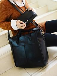 baratos -Mulheres Bolsas PU Conjuntos de saco 2 Pcs Purse Set Ziper Marron / Marron Escuro / Vinho