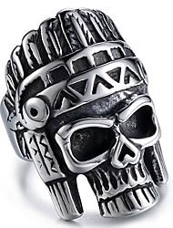 Недорогие -Муж. Старинный Скульптура Мексиканский сахарный череп Кольцо Титановая сталь Нержавеющая сталь Череп Массивный Стиль Винтаж Модные кольца Бижутерия Черный Назначение