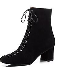baratos -Mulheres Sapatos Confortáveis Camurça / Pele Inverno Botas Salto Robusto Preto / Cinzento / Black / azul