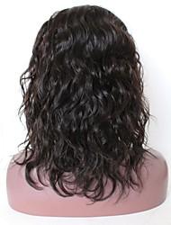 economico -capelli naturali Remy Lace integrale Parrucca Brasiliano Onda naturale Parrucca Taglio medio corto Taglio scalato Parte di mezzo 130% Densità dei capelli con i capelli del bambino Attaccatura dei