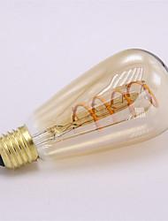 baratos -1pç 4 W 300 lm E26 / E27 Lâmpadas de Filamento de LED ST64 1 Contas LED COB Decorativa / Filamento Macio Branco Quente 85-265 V