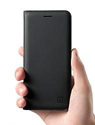 Недорогие -Кейс для Назначение OnePlus 5 / OnePlus 5T Бумажник для карт / Флип Чехол Однотонный Твердый Настоящая кожа для OnePlus 6 / One Plus 5 / OnePlus 5T